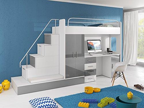 Hochbett TOMI - Schreibtisch, Schrank, Treppe und Gästebett mit Hochglanz-Fronten in weiß / schwarz / rosa / grau / lila / blau (grau)
