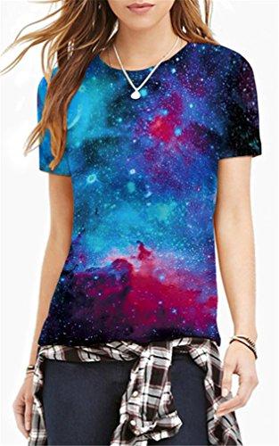 AMOMA Frauen Unisex Casual 3D-Printed T-Shirts Kurzarm-Oberseiten-T-Stücke Interstellar