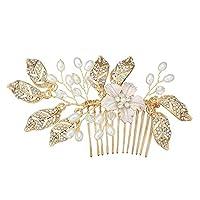 Summerwindy Leaf Hair Comb Wedding Hair Jewelry Handmade Bridal Headpiece Bridesmaid Hair Accessories Women Gold Color Bridal Hairpiece