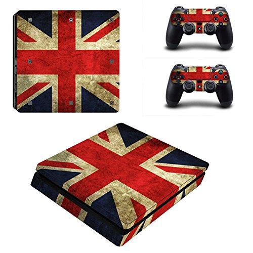 Morbuy PS4 Slim Skin Design Folie Aufkleber Sticker schützende Haut Schale für Sony Playstation 4 Slim Konsole und 2 Dualshock Controller (Flags UK)