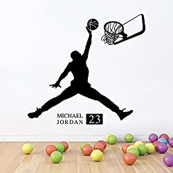 Winhappyhome baloncesto muchacho de la manera etiqueta de la pared pegatinas removibles Habitación Sala Cafe papel tapiz de fondo Decoración de cristal Adhesivos