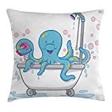NGDUTZ Octopus Throw Pillow Cushion Cover, Cartoon Illustration of Cute Octopus Taking Bubble Bath Tub with Soap in Tentacles, Decorative Square Accent Pillow Case, 18 X 18 inches, White Blue