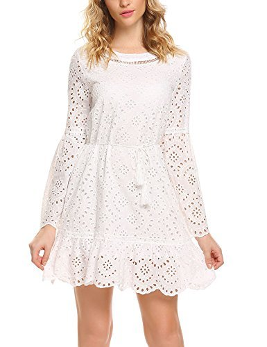 Zeagoo Women's Bell Sleeve Eyelet Fit and Flare Solid Mini Crochet Lace Dress with String Belted (Lace Belted Dress)