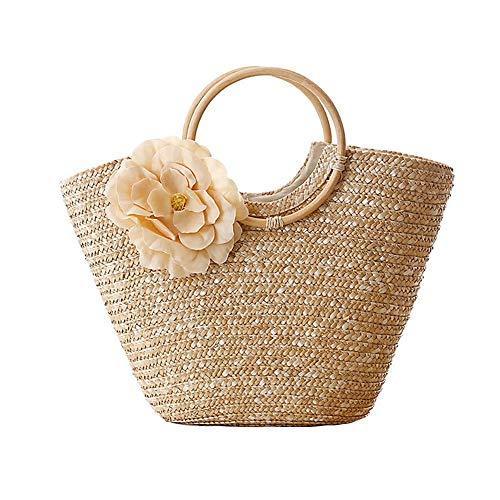 SODIAL Bolso de mano para mujer con tejido de paja, tejido de flores, verano, playa, mensajero, bolsa de mano, cesta, comprador, bolso