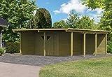 Karibu Doppelcarport ECO mit integriertem Abstellraum 2 und Wände Außenmaß (B x T): 527 x 576 cm Dachstand (B x T): 563 x 676 cm Pfostenstärke: 9 x 9 cm umbauter Raum: 63,4 cbm Dachfläche: 38,25 qm Abstellraum: Größe 2 (387 x 268 cm) Wände: 1 Seitenwand,