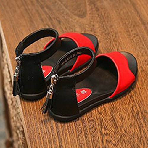 Oasap Girl's Casual Oepn Toe Ankle Strap Flat Sandals red