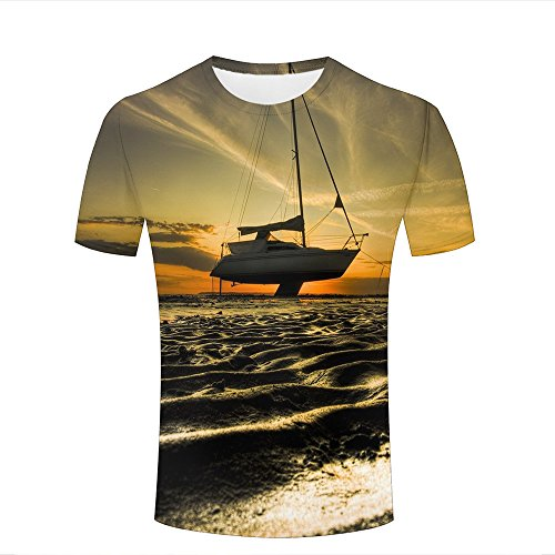 qianyishop Mens Womens Casual Design 3D Printed Sunset and Beach Beached Boat Graphic Short Sleeve Couple T-Shirts Top Tee XXL (T-shirt Design Ringer Junior)