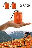 Shayson Saco de Emergencia Dormir,Aislamiento Térmico, Exterior Brillante Naranja Fácil de Localizar Portátil,para Acampar Supervivencia Al Aire Libre 2 Pack