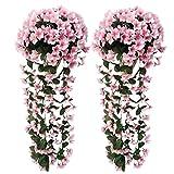 Holove 27,56 pulgadas flores artificiales Wisteria Cesta