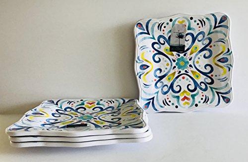 Set of 4| Floral Dekorative Muster | weiß mit Blues, grünen, rot und gelb Blumen Melamin quadratisch | Lunch | Salatteller | Dessertteller | 22,9cm Blue Floral Lunch Plate