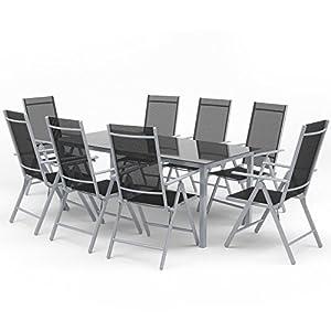 Oskar Alu Sitzgarnitur Gartenmöbel Set 9-teilig Garnitur Sitzgruppe 1 Tisch 190x87 + 8 Stühle (Silber/Schwarz)