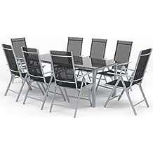 Alu Sitzgarnitur Gartenmöbel Set 9-teilig Garnitur Sitzgruppe 1 Tisch 190x87 + 8 Stühle