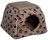 dobar 60171 Ausfaltbare Liegebett und Kuschelhöhle für Katzen und kleine Hunde, 40 x 40 x 30 cm, grau/schwarzbrauner pfotenprint