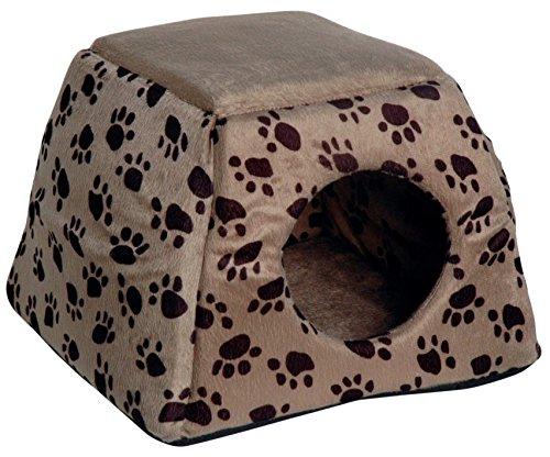 dobar 60171 Ausfaltbare Liegebett und Kuschelhöhle für Katzen und kleine Hunde, 40 x 40 x 30 cm, grau/schwarzbrauner pfotenprint - Höhle Katze Bett