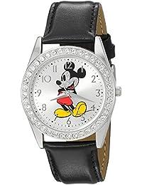 Disney Men's 'Mickey Mouse' Quartz Metal Watch, Color:Black (Model: W002747)