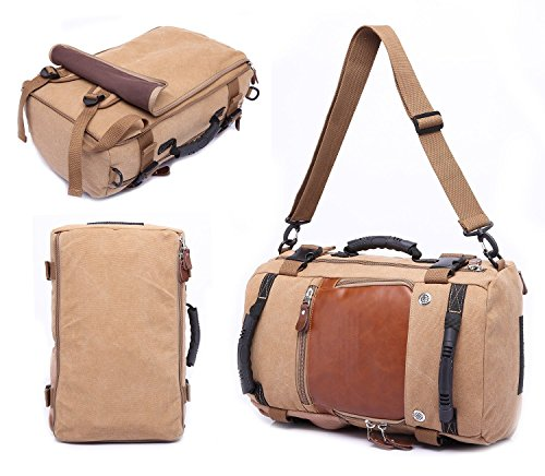 Best canvas backpack in India 2020 MOCA 4in1 Canvas casual Backpack Vintage Military Messenger Hiking Camping outdoor Trip Tour Travel Duffel Shoulder Casual Bag BackPack Rucksack 0208 (Inexperienced) Image 10