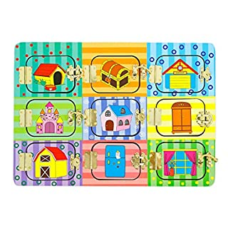 Sharplace Wooden Montessori 6 Lock Board Kids Open Mysterious Door Game Early Basic Life Skill Educational Training Toys