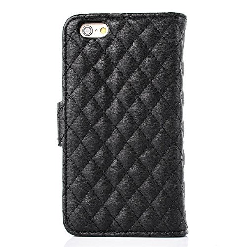 "inShang iPhone 6 Plus iPhone 6S Plus Coque 5.5"" Housse de Protection Etui pour Apple iPhone 6+ iPhone 6S+ 5.5 Inch, Coque Avec Elégant Boucle + Pochette + GRIP PATTERN POLISH PU, Cuir PU de premiere q rhombus grid black"