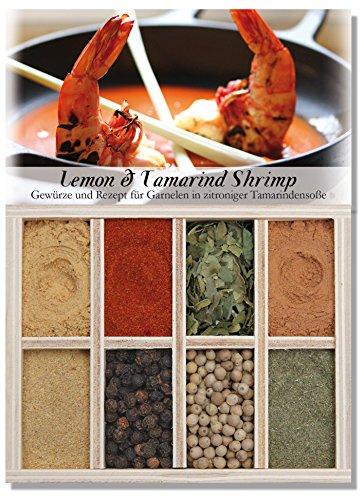 Lemon & Tamarind Shrimp - 8 Gewürze Set für Garnelen in zitroniger Tamarindensoße(40g) - in einem schönen Holzkästchen - mit Rezept und Einkaufsliste - Geschenkidee für Feinschmecker von Feuer & Glas