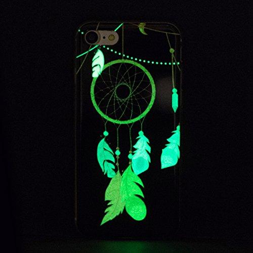 EUWLY [Nottilucenti Luminoso] Silicone Custodia Per iPhone 7/iPhone 8 (4.7) Cover TPU Glitter Brillante Cristallo Telaio Trasparente Sottile Protettiva Cassa Bumper Morbido Flessibile TPU Gomma Silic Campanula Feather