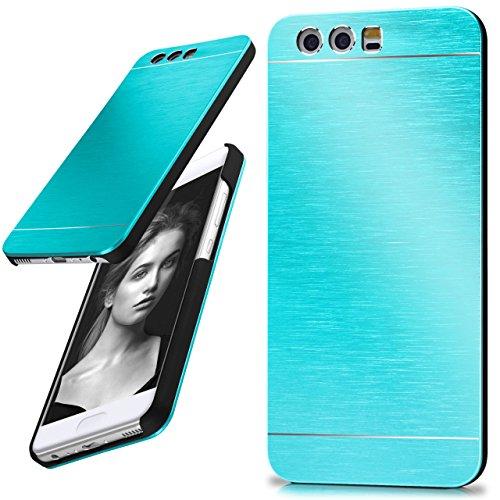 moex Huawei P10 | Hülle Dünn Türkis Aluminium Back-Cover Schutz Handytasche Ultra-Slim Handy-Hülle für Huawei P10 Case Metall Schutzhülle Alu Hard-Case Aluminium Hard Case