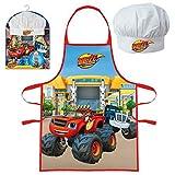 Paw Patrol Blaze Soy Luna Niños Juego de cocinar Delantal de cocina y Gorro de chef - Blaze 2 piezas