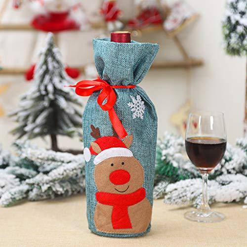 Anliyou Flachenanzug für Weinrotfalsche Weihnachtlich Flaschenüberzug mit Schlaufen Weihnachtsdeko Weihnachtstischdeko mit Puppe und Lace Colorblock Weihnachtsdekoration Weihnachtsschmuck