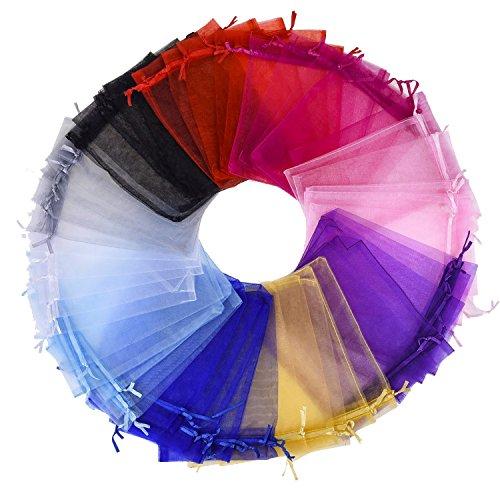 50 Piezas de Bolsas de Regalo de Organza de Colores Mezclados Bolsos de Favor de Fiesta de Boda Bolsas de Joyería de Cordón, 5 por 7 Pulgadas
