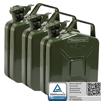 Oxid7 3x Benzinkanister Kraftstoffkanister Metall 5 Liter Olivgrün mit UN-Zulassung - TÜV Rheinland Zertifiziert - Bauart geprüft - für Benzin und Diesel