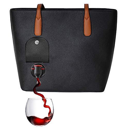 PortoVino WeinHandtasche (Schwartz) - Modische Henkeltasche mit verstecktem, isoliertem Fach - Enthält 2 Flaschen Wein in einem herausnehmbaren Beutel!