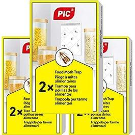 PIC Trappola Anti Tarme del Cibo – Confezione da 3 buste con due trappole = 6 pezzi – Trappola di colla per farfalline del cibo, trappole ai feromoni acchiappa tarme alimentari