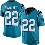 Majestic Athletic NFL Football Carolina Panthers 22# McCAFFREY T-Shirt Jersey Bequem und Atmungsaktiv Trikot,Blue,Men-M