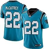 Majestic Athletic NFL Football Carolina Panthers 22# McCAFFREY T-Shirt Jersey Bequem und Atmungsaktiv Trikot,Blue,Men-M