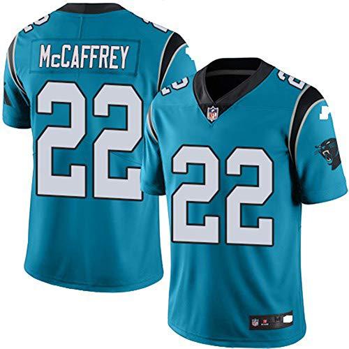 Majestic Athletic NFL Football Carolina Panthers 22# McCAFFREY T-Shirt Jersey Bequem und Atmungsaktiv Trikot,Blue,M (Carolina Panthers Trikots Männer)
