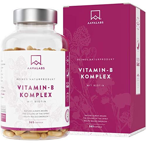 Vitamin B Komplex mit Biotin und Vitamin B12-365 Stück - mit Vitamin B1, B2, B3, B5, B6, B7 und B9 - Unterstützt das Wohlbefinden - Frei von Zusatzstoffen, 100% Vegan - Hergestellt in der EU