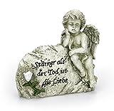 Deko Engel Figur Schutzengel Grabengel Trauernd Grabstein 14 x 15 cm Groß, Polystein Steinoptik Grau, Dekoengel Trauerspruch Engelkind Grabstein