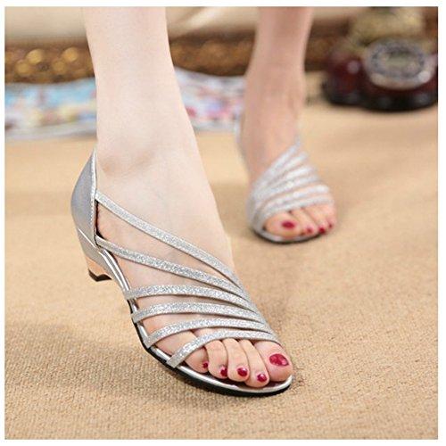 Fortuning's JDS Nuove scarpe sandali alla moda estate peep toe con zeppa per le signore Argento
