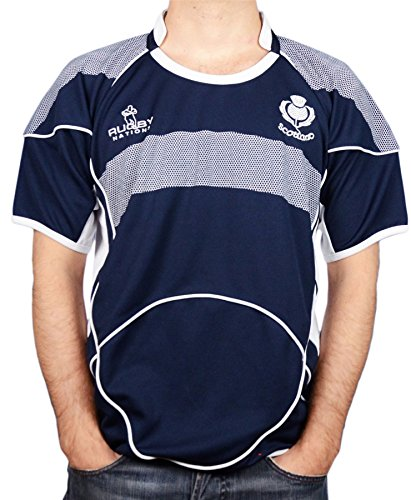 Gents Rugby Shirt Scotland Crew Neck Half Sleeve Size Large