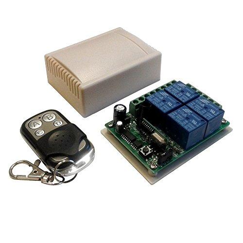 Modulo Scheda relè ricevitore 4 canali Ch 12V 10A + telecomando 433MHz controllo remoto wireless cancelli serrande luci domotica interruttore ricevente relay 12Vdc