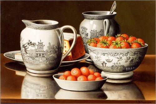 Alubild 150 x 100 cm: Stillleben mit Porzellan und Erdbeeren von Levi Wells Prentice/Bridgeman Images -