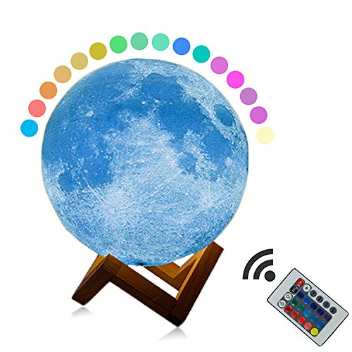 3D-Druck Nachtlicht LED Modern Light 16 Farbe Multifunktions Touch USB Aufladen mit Holzrahmen Kinder, 16 Color Remote Control-OneSize