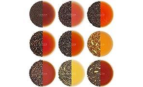 Breakfast Tea Sampler - 10 TEAS, 50 Servings | 100% PURE SPICES | Black Tea, Chai Tea, Green Tea & Herbal Tea | Loose Leaf Breakfast Teas | Tea Variety Pack & Tea Gift Set | Loose Tea -100gm