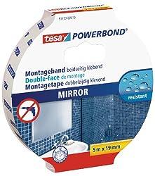 tesa Powerbond Mirror (Doppelseitiges Montageband zur Fixierung von Spiegeln, Feuchtigkeitsbeständiges Klebeband für Bad und Dusche, 5 m x 19 mm)