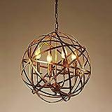 XHJJDJ Vintage-Stil rustikale Artcraft Eisen Kunst Kugel geformt Anhänger Kronleuchter Beleuchtung hängende Deckenleuchte (4-Licht)