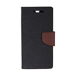 Imported Stylish Mercury Goospery Wallet Flip Case Cover Made For One Plus One-Black With Brown Flip