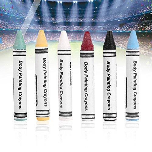 6 Stück Neon-Malerstifte, fluoreszierend, für Gesicht, Make-up, Körper, Kugelschreiber, für Fußball, DIY (Diy Paint Body Glow)