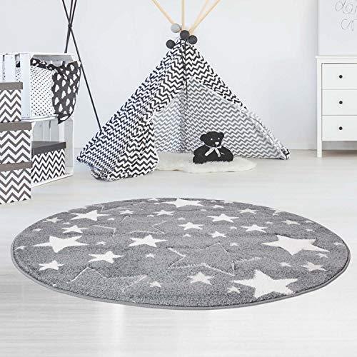 carpet city Kinderteppich Flachflor Bueno Konturenschnitt Glanzgarn mit Sterne in Grau für Kinderzimmer, Größe: 160 cm Rund