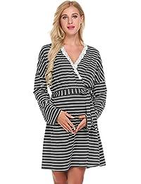 bb7da35c8d Keelied Women s Maternity Dressing Gown Nightdress Cotton Nursing Nightie  Robe Breastfeeding Dress Striped Nightshirt Nightgown with