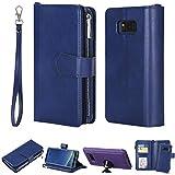 Galaxy S8 Plus Hülle,Galaxy S8 Plus Handyhülle Leder,WIWJ Handyhülle Wallet Case[Einfarbiges Zwei-in-Eins-Reißverschluss-Lanyard-Holster]Hüllen Schale Schutzhüllen für Samsung Galaxy S8 Plus-Blau