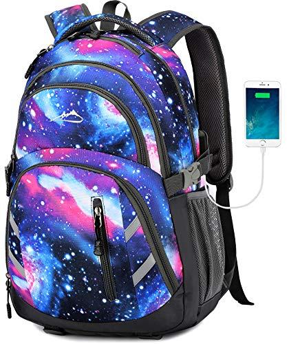 Rucksack für Schule, Studenten, Geschäftsreisen, mit USB-Ladeanschluss, für Laptops bis zu 15,6 Zoll Galaxy Medium